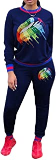 Howely Womens Floral Printed Top and Sweatpants Tracksuit Active 2-Piece Suit