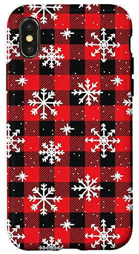 iPhone X/XS Snowflakes on Red and Black pattern - Winter Christmas Case