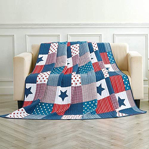 Asvert Quilt Tagesdecke 100prozent Baumwolle Bettüberwurf Steppdecke Patchwork Bettdecke Doppelbett Sofa (180 * 220, Blau)