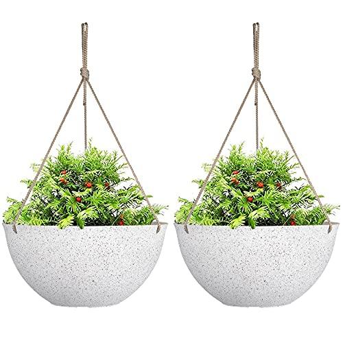 Large Hanging Planters for Indoor Plants,Speckled White Hanging Flower Pots(13.2 Inch,Set of 2)