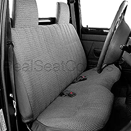 RealSeatCovers for Front Bench Thick A25 Molded Headrest Small Notched Cushion Seat Cover for Toyota Pickup 1984-1989 Dark Gray, Charcoal