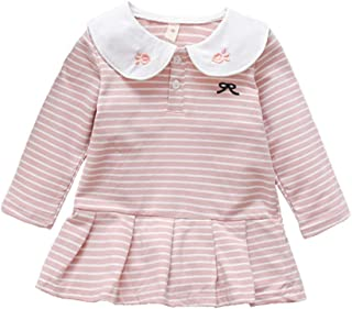 Xifamniy Infant Girls Long Sleeve Skirt Embroidery Rabbit Collar Striped A-Line Dress Pink