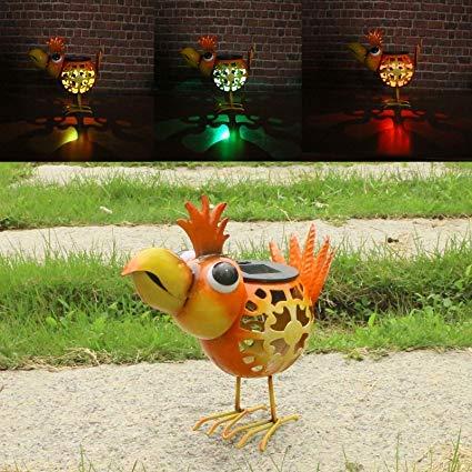 Animal Solar Lights,Metal Birds Garden Ornaments,Solar Yard Ornaments for Flowerbed Decorations and Lawn Yard Garden D