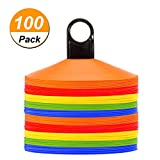 Disc Cones (Set of 50) Agility Soccer Cones with Holder for Training, Football,...