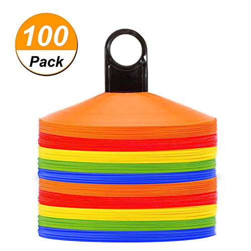 Disc Cones (Set of 50) Agility Soccer Cones with Holder for Training, Football, Kids, Sports, Field Cone Markers (100)