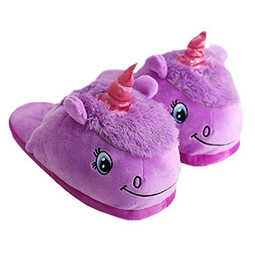 DarkCom Unisex Lindo Unicornio Zapatillas Slip On Suave Adulto De La Felpa De La Casa De Zapatos 1 Par Purle