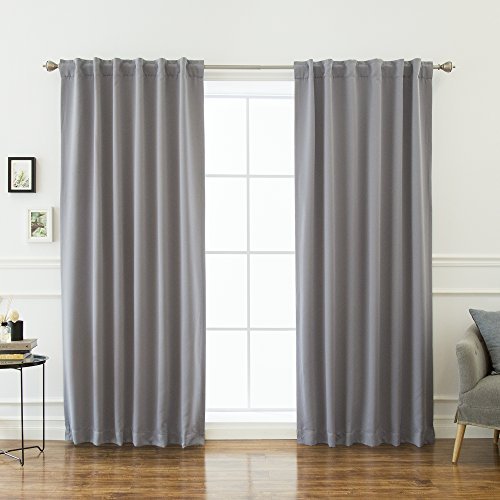 """Best Home Fashion Thermal Insulated Blackout Curtains - Back Tab/Rod Pocket - Grey - 52"""" W x 132"""" L - (Set of 2 Panels)"""