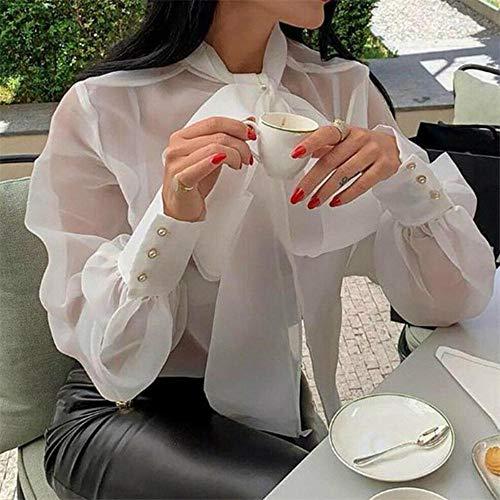 Zent Frauen Mesh Sheer Bluse Durchsichtige Langarm Top Shirt Bluse Mode Schnürung...