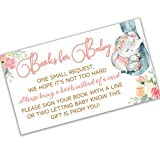 Elephant Boho Floral - Baby Shower Elephant Floral Books for Baby Request Cards (50 Count) | Girl Baby Shower Books for Baby Pink Flowers | Books for Baby Shower | Fun Baby Shower Activities