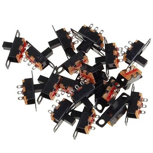 Lezed 50 Pcs Mini Horizontal Schiebeschalter Mini-Panel Schiebeschalter Montage Löten Schalter Panel Mount Schiebeschalter Mini-Format SPDT Schiebeschalter Mini Schiebeschalter Schalter 1P2T