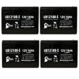 4 Pack Replacement for Schwinn IZIP I-750 Electric Scooter 3 Battery - Replacement UB12100-S Universal Sealed Lead Acid Battery (12V, 10Ah, 10000mAh, F2 Terminal, AGM, SLA)