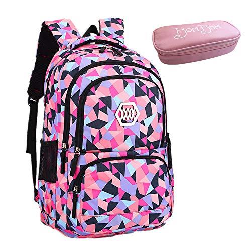 Bom Bom Rucksack Schultasche junge Mädchen Teen Kinder große Schule Rucksack, Mehrfarbig