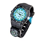 Frontier Aqua Force Tactical White Face Watch w/EL Backlight Flashlight Compass (100M Water Resistant)