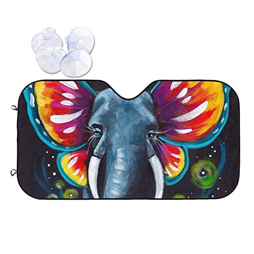 PNNUO Car Windshield Sunshade - Elephant with Butterfly Ears Auto Sunshade for Car Truck SUV,Foldable Car Front Windshield Sunshade,Sun Visor Keeps Your Vehicle Cool