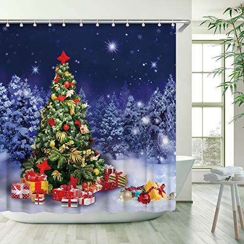LIVILAN Weihnachtsbaum Duschvorhang mit 12 Haken in tiefblauem Himmel Schneeflocke Kiefer bedeckt von schwerem Schnee Merry Christmas Duschvorhang (blau)