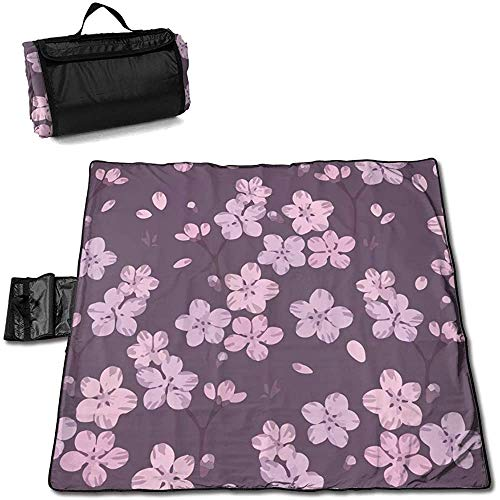 Gaby-Shop Matte Picknickdecke im Freien Rosa Kirschblüte Lila Blumen Sanddichte Strandmatte Tote für Camping Wandergras Reisen
