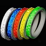 EVEDMOT Reflective Tapes 5 Colors Safety Reflective Warning Stickers, Waterproof Outdoor Bicycle Rim Reflector Tape, Thin Reflective Sticker Rolls for Bikes, Bicycles, Motorcycle Decoration.