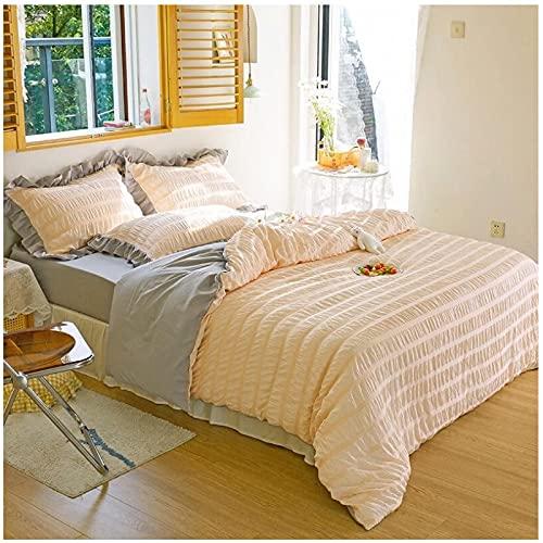 QWEAASD Juego de cuatro piezas de algodón lavado niña princesa viento cama ins viento hada aire ropa de cama funda nórdica ropa de cama fundas de almohada textiles para el hogar-Doble 4 piezas 180x220