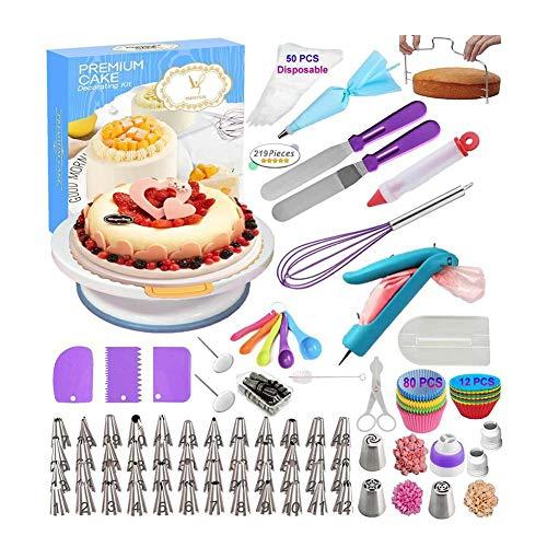 Juego de decoración para tartas, 219 piezas de cortador de tartas con placa giratoria para tartas, soporte para glaseado y decoración, herramientas para principiantes y profesionales