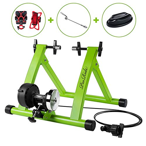 ProRide Indoor Bike Trainer Stand Bicycle Exercise Magnetic Stand with Noise Reduction Wheel  with Bike Phone Holder