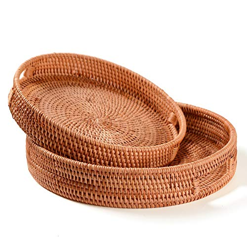 ZXD Rattan tray hand-woven, round, high wall, food storage, dish over handles for breakfast, drinks, snack for coffee table,Brown