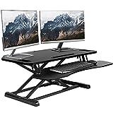 VIVO Black Extra Wide Corner Height Adjustable 38 inch Stand up Desk Converter, Sit Stand Tabletop Dual Monitor and Laptop Riser Workstation, DESK-V000KL