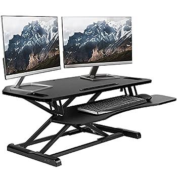 VIVO Black Extra Wide Corner Height Adjustable 38 inch Stand up Desk Converter Sit Stand Tabletop Dual Monitor and Laptop Riser Workstation DESK-V000KL