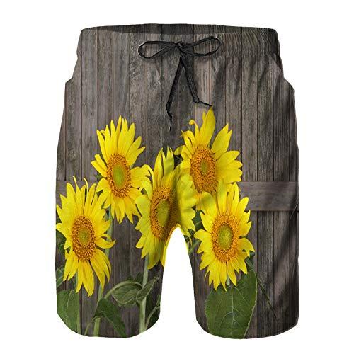 Aerokarbon Herren Beach Board Shorts Hose,Sonnenblume Helianthus annuus gegen einen rustikalen Holzzaun,Schnelltrocknende Badebekleidung mit Netzfutter 2XL