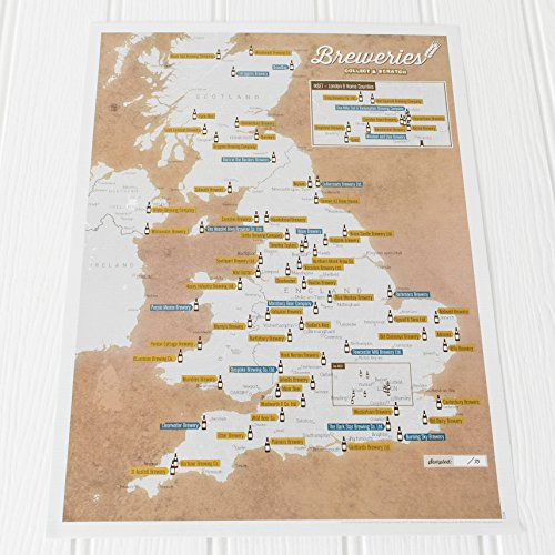 UK Breweries Collect and Scratch Off Travel Map –– Great Gift for Beer...