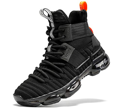 JMFCHI FASHION Kids Basketball Shoes Boys Outdoor Sneakers Girls Indoor Training Shoes High-top Boy Sports Shoes Durable Non-Slip Kid Running Shoe Black Size 4
