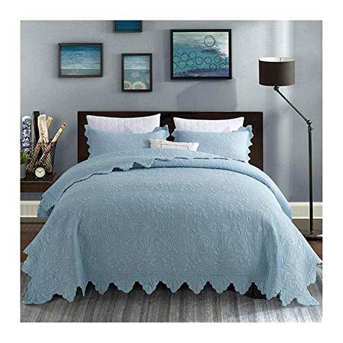 Siunwdiy 100% algodón colchas Patchwork Acolchado Pad Shop Talleres Dispuestos 3 Personas 3 Habitaciones Cuadro de Microfibra Decorativa con Fundas de Almohada,Azul,230 * 250cm