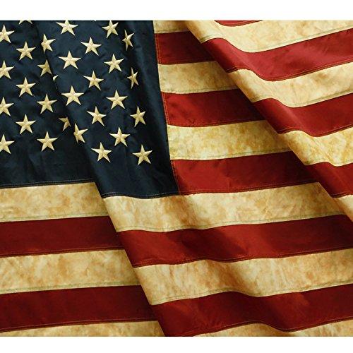 Anley Vintage Style Tee gebeizt Amerikanische Flagge 3x5 Fuß Nylon - Gestickte Sterne und genähte Streifen - 4 Reihen von Schloßnähten - Antiquierte USA Bannerfahnen mit Messingösen 3 X 5 Ft.