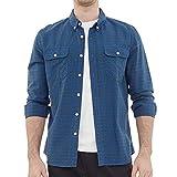 Dubinik® Camisa de franela a cuadros para hombre, manga larga, corte regular, para tiempo libre azul oscuro L