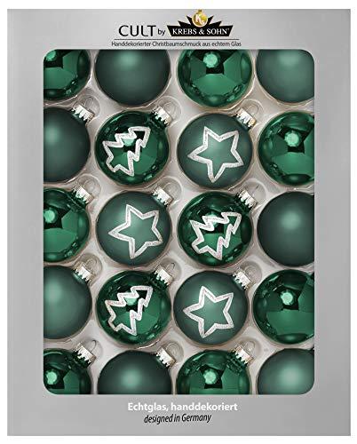 KREBS & SOHN Set Weihnachtskugeln aus Glas 5,7 cm - Christbaumschmuck Christbaumkugeln Weihnachtsdeko - 20-teilig, Grün, Sterne