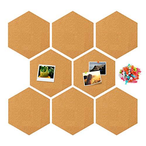 RIOGOO Hexagon Cork Board, Wall Bulletin Boards mit Full Sticky Back Wanddekoration für Bilder, Fotos, Notizen, Ziele, Zeichnen, Paingting, Bonus 32 Pins