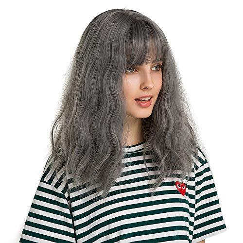 Haze Blue Wave Natural Curly Fringe Fringe Chemical Fiber perruque de cheveux Lady fille perruques Perruques Femme XXYHYQHJD