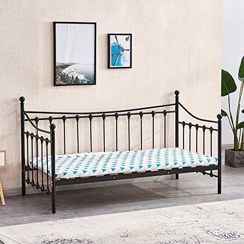 HomeSailing EU Full Metal Single Day Bed Frame with Headboard and Solid Wood Slat Platform Base Guest Sofa Bed Daybeds for Living Room Bedroom 90 * 198CM Black