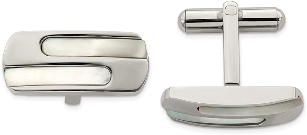 Ranking TOP8 Solid Stainless Steel Men's Mother of 1 Cufflinks x Pearl 22mm Super-cheap -
