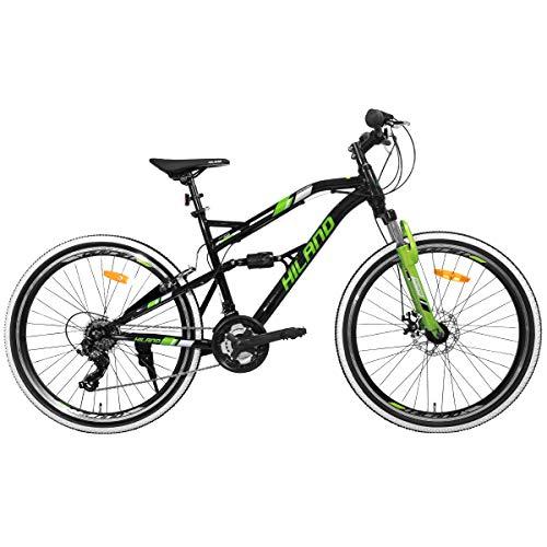 Hiland 26 Inch Mountain Bike Dual-Suspension Shimano 21 Speeds Disc-Brake MTB Bicycle Cycling Urban Commuter City Bicycle Black&Green
