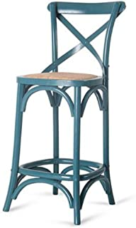 Dining Chairs Seat Chair Bar Counter Solid Wood American Backrest Retro Simple High Stool Back Fork Antique Distressed Tingting (Color : Dark Blue Green)