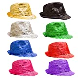 12 Pack - LED Light Up Sequin Fedoras Hats for Men & Women