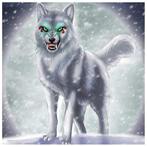 VANSIHO 5D DIY Diamond Painting,by Number Kits Crafts & Sewing Cross Stitch,Wall Stickers for Living Room Decoration,Snow Wolf(30X30cm/12X12inch)