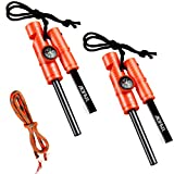 AOFAR AF-381 5-in-1 Fire Starter (2-Pack) Waterproof fire Steel Pouch for Camping, Hiking, Hunting,...