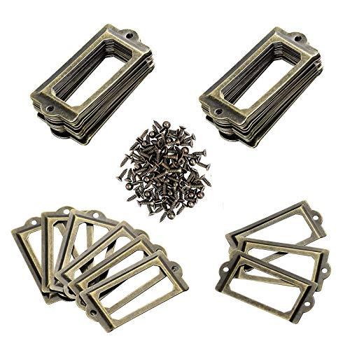Gloryit 50 piezas Etiqueta de Cajón de Metal, Etiqueta de Metal Antiguo Marco, Tiradores de Etiquetas Metal para archivadores, cajones, armarios, joyeros, cajas de regalo ⭐