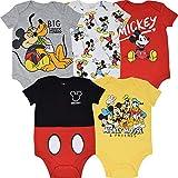 Disney Mickey Mouse Baby Boys 5 Pack Short Sleeve Bodysuit 3-6 Months