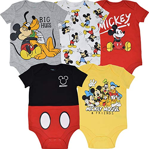 Disney Mickey Mouse Baby Boys 5 Pack Bodysuits 24 Months