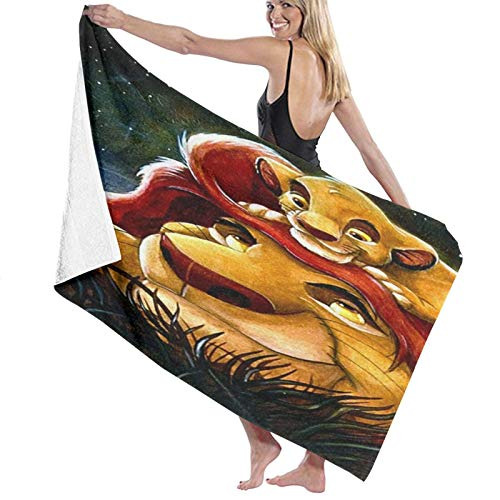 Custom made Toalla de playa del Rey León Simba | Diseño Super Suave | Perfecto para natación, la playa o el baño, Multi,80 x 130 cm