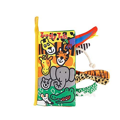JJone Livro de Pano Rabo de Bebê Animais da Selva Amassados Livros de Pano Macio Animais de Aprendizagem Cores Tocar e Sentir Livro Sensorial Atividade Educacional Brinquedos Presentes para Bebês Crianças Meninos Meninas