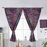 Hiiiman - Cortinas con bolsillo para barra de cortina, diseño romántico con aislamiento térmico colorido para sala de estar