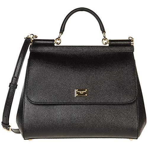 Dolce&Gabbana borsa donna a mano shopping in pelle nuova dauphine sicily nero